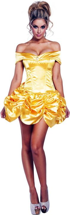 Sexy Princess Belle Off Shoulder Corset & Skirt Fairy Tales Costume Adult Women #Roma