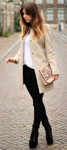 fall outfits for school cream coat