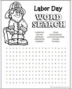 Labor Day word search puzzle with 15 terms and phrases