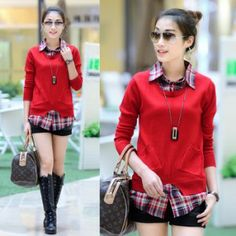 Faux two piece set sweater female medium long sweater shirt collar