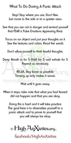 Panic Attack Survival Guide. This is excellent. Worth printing off, and carrying it around. #panic #anxiety #recovery                                                                                                                                                      More