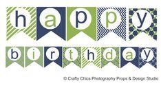 DIY  Blue Green Happy Birthday Banner  Printable by Craftychics2, $5.00