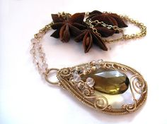 Haydee  Intricate gold filled necklace with rose quartz by SofiesC, $139.00