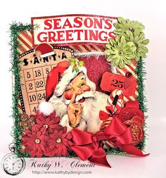 Preserve your family holiday memories in this adorable Retro Christmas Altered Art Box and Mini Album. The sturdy box opens to reveal decorated end