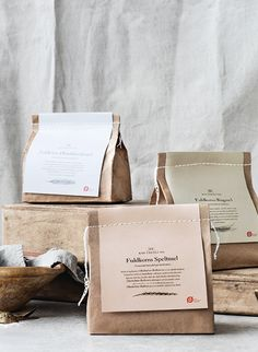 Packaging Design Knuthenlund Organic Flour designed by Wunsch A Moving Experience I've found a cool Bakery Packaging, Cookie Packaging, Tea Packaging, Food Packaging Design, Bottle Packaging, Pretty Packaging, Brand Packaging, Packaging Ideas, Product Packaging Design
