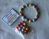 """4 DIY Bracelet Kits, Rock-n-Roll Bracelets, Quick """"Easy To Do"""" Craft, Multi-Color Stripe Beads, Craft Project, Party Favor, Get Well Gift"""