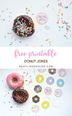 FREE printable Donut Jokes | NestlingDesign.com Donut Birthday Parties, 8th Birthday, Birthday Party Themes, Birthday Ideas, Happy Birthday, Donut Games, Donuts, Grown Up Parties, Donut Bar