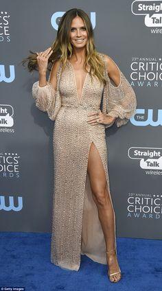 Stunner: Heidi Klum put on a very leggy display as she arrived for the Critics Choice awar...