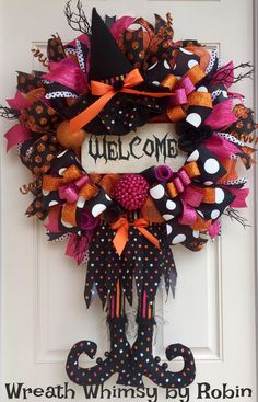 Halloween Deco Mesh Witch Wreath in Orange, Pink and Black with Reclaimed Wood Welcome Sign, Fall Wreath, Halloween Decor, XL Witch Wreath by WreathWhimsybyRobin on Etsy