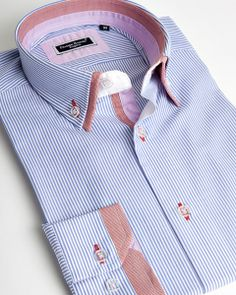 Double collar shirt with blue stripes