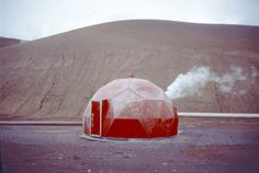 Red geodesic shed for technical equipment near the Krafla geothermal power plant at Lake Myvatn, Iceland Contributed by Joachim Weinhold