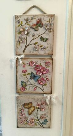 I m thinking wood background - maybe pyrography branches clay butterflies - alcohol inked - fabric or lace flowers Decoupage Art, Decoupage Vintage, Decor Crafts, Diy And Crafts, Arts And Crafts, Clay Crafts, Wood Crafts, Fabric Crafts, Paper Crafts
