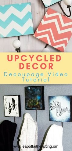DIY decoupage ideas on wood with step by step pictures and videos! Upcycle old … DIY decoupage ideas on wood with step by step pictures and videos! Upcycle old … Upcycled Crafts, Diy And Crafts Sewing, Crafts To Sell, Easy Crafts, Inspiration Drawing, Decor Inspiration, Decor Ideas, Gift Ideas, Decoupage Wood