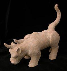 "Han Terracotta Mythological Beast - H.917 Origin: China Circa: 206 BC to 220 AD  Dimensions: 10"" (25.4cm) high  Collection: Chinese Medium: Terracotta"