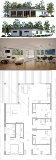 Small House Plans, House Floor Plans, House Blueprints, House Layouts, Little Houses, Planer, New Homes, Tiny Homes, Construction