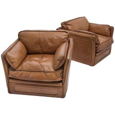 Delightful Pair Of French Tan Leather Club Armchairs, Circa 1970