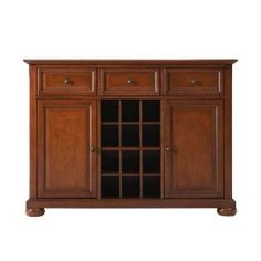 Crosley, Alexandria Cherry Buffet Server and Sideboard Cabinet with Wine Storage, KF42001ACH at The Home Depot - Mobile