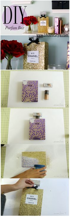 How to make this Chanel parfum box for decor! Cute idea. Jazz up your dresser but watch out! Your BFFs might want to try to spritz some - it looks so real.