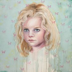 © Cherry Hood ~ Estella Butterfly ~ 2008 watercolour and oil on canvas at Tim Olsen Gallery Sydney Australia Contemporary Australian Artists, Watercolor Paintings, Watercolours, Sydney Australia, Oil On Canvas, Disney Characters, Fictional Characters, Aurora Sleeping Beauty, Butterfly