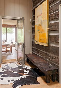 Blend Rustic and Modern cabin planks and a cowhide rug—with modern art. Cabana, Dream Home Design, House Design, Rustic Chair, Moldings And Trim, Lodge Decor, Interior Decorating, Interior Design, Architectural Features
