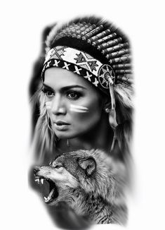 Tattoo ideas Native American Tattoos, Native Tattoos, Native American Beauty, Wolf Tattoos, Native American Indians, Body Art Tattoos, Girl Tattoos, Sleeve Tattoos, American History