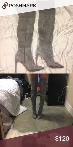 "Grey thigh high boots with 3.5"" heel Grey slouchy suede Sam Edelman ""Bernadette"" boots, 3.5"" heel, very comfortable, worn once on my trip to New York don't have much other use for them Sam Edelman Shoes Over the Knee Boots"