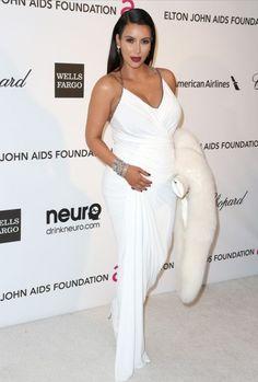 Kim Kadarshian greek goddess look with Donna Karan dress for Elton John's Oscars party