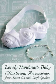 Make a beautiful headband and bracelet set for a baby christening, blessing, or baptism! The PERFECT unique baby shower gift! Make a beautiful headband and bracelet set for a baby christening, blessing, or baptism! The PERFECT unique baby shower gift! Christening Bracelets, Christening Headband, Baby Christening, Handgemachtes Baby, Baby Love, Baby Bracelet, Bracelet Set, Baby Headband Tutorial, Create Kids Couture
