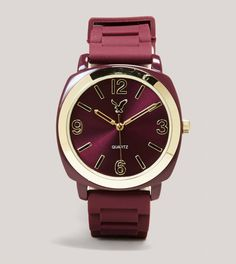AEO Rubber Watch in Burgundy. I'm not a big fan of rubber watches, I usually prefer leather or chain watches but I really LOVE this watch and the color! Shades Of Burgundy, Burgundy Wine, Burgundy Color, Magenta, Red Color, Marsala, Gq, Burgundy Fashion, Use E Abuse