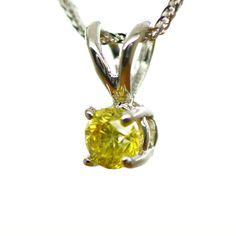 14K White Gold Pendant Necklace Natural Diamond Round Enhanced Yellow Color SI1 #MyDiamonds #Pendant