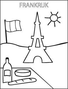 Kleurplaat school Frankrijk Eiffel toren