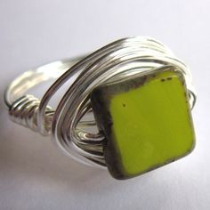 Silver Wire Wrapped Ring Lime Green Glass Square Unisex Jewelry Any Size #craftyfolk