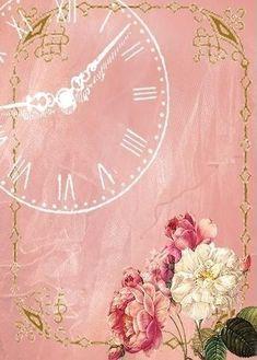 white clock on pink.