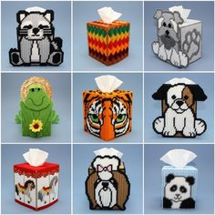 Plastic Canvas Tissue Box Covers | Details about Plastic Canvas Tissue Box Covers, Large Assortment, Hand ...