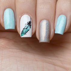 Decoracion de plumita en degrade en tonos verde agua 💚 Beauty Nails, How To Do Nails, Pretty Nails, Nail Designs, Lily, Nail Art, Simple, How To Make, Ideas