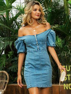 Haute Couture Style, Denim Fashion, High Fashion, Womens Fashion, Runway Fashion, White Denim Dress, Denim Dresses, Bardot, Jumpsuits For Women