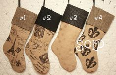 French Farmhouse Black and Tan Burlap Christmas by ChristmasIsLove