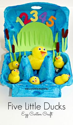 Five little ducks nursery rhyme craft for kids.  Make a simple small world from a recycled egg carton. Perfect for pretend play and acting out the rhyme for toddlers, preschoolers, eyfs.
