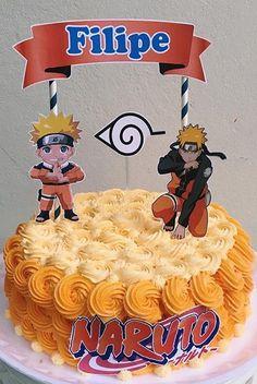 Bolo Do Naruto, Birthday Treats, Birthday Cake, Desserts, Food, Chantilly Cream, Naruto Birthday, White Icing, Chocolate Sprinkles