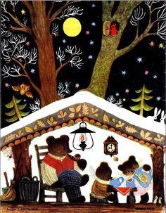 via Library things Drawings by Tatyana Kolyusheva. Cute little hibernating Bear Family in Winter