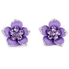 Pair of Sweet Rhinestone Flower Painted Earrings For Women #jewelry, #women, #men, #hats, #watches, #belts