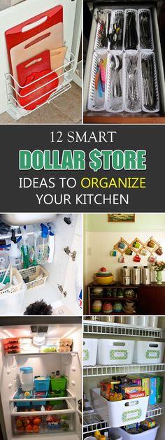 Easy ways to organize your kitchen using dollar store items.