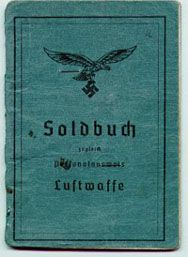 Soldbuch: The basic pay and identity document booklet for all active-duty German soldiers. It was created & issued to a soldier after his entry into active duty service.  A military-dress photo was later required circa1943, as a security measure.  It contained info on his pay grade, clothing, equipment, weapons issued, current unit of assignment.  Medical information, leaves and awards were also included.  It was the document the MPs were most interested when stopping soldiers for…