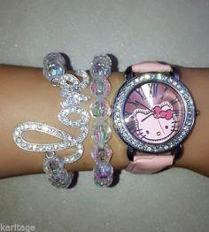 fef7170fe73b55 Pink Hello Kitty Watch and 10mm iridescentBead bracelet set