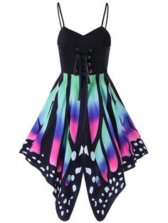 $14.28  Butterfly Print Lace Up Slip Dress in Colormix | Sammydress.com