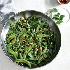 Sauteed Sugar Snap Peas with Chile, Lemon, and Mint | MyRecipes.com