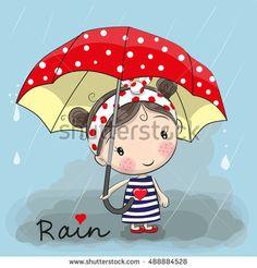 Cute cartoon girl girl with an umbrella standing under a rain