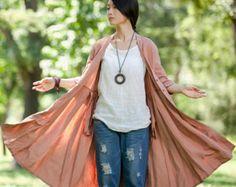 Women Loose Fitting linen Long dress/ Asymmetric by MaLieb on Etsy