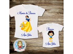 Kit Camisetas Mãe e Filha Princesas e Personalizadas com Nome, lindas e por somente R$ 47,00!