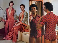 "1970s men fashion - ""Let's put on some robes and see what develops."""
